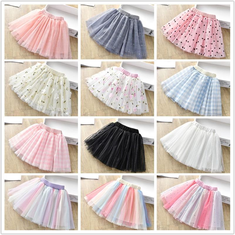 1-6Y Cute Mesh tutu Girls Skirt Summer Children Flower Dot Plaid Skirts Kids Pink faldas aesthetic Soft Mini Skirt for girls
