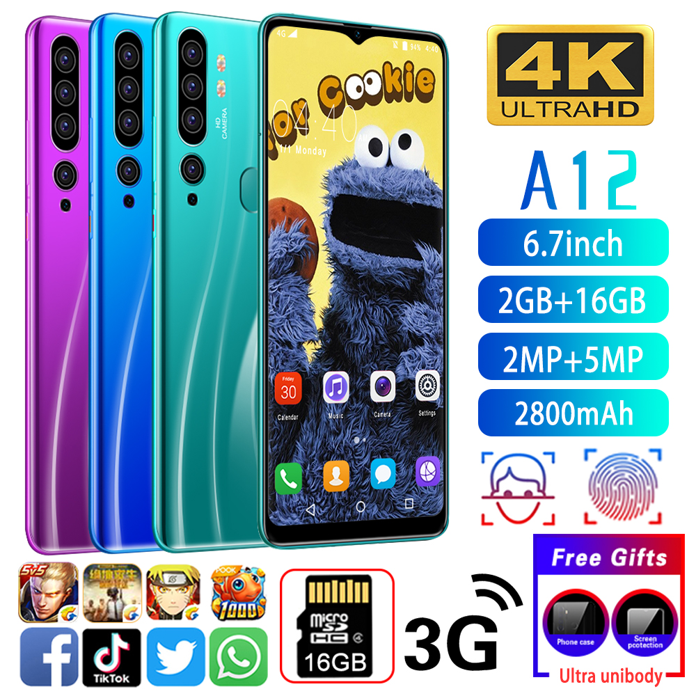 A12 Cellphone MTK6580 Phones 4-core 6.7inch HD <font><b>2800mAh</b></font> Cell phones 3G Phone 2GB+16GB Mobile phone 2MP+5MP image