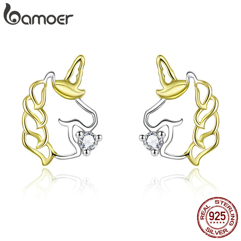 Bamoer Sketch Line Licorne Biocolor Stud Earrings For Girl Luck Animal Mysterious 925 Sterling Silver Fashion Jewelry BSE234