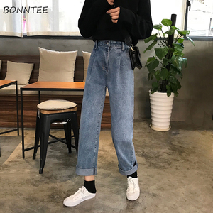 Image 1 - Jeans Women Spring Summer Trendy Korean Style All match Simple High Waist Streetwear Ulzzang Womens Trousers Chic Loose Casual