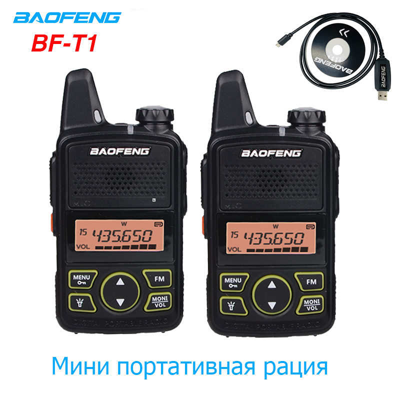 2PCS Baofeng BF-T1 Mini Walkie Talkie UHF Portable CB Ham Radio BF T1 Handheld FM Transceiver Kids Intercom 5KM Bft1 Comunicador