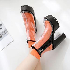 Image 4 - COWCOM bottes transparentes pour femmes, chaussures transparentes, talon épais, talons hauts et ronds étanches, semelle blanche, DF jz750 1