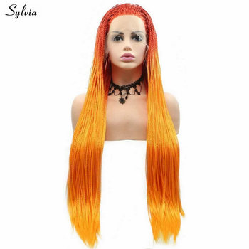 Synthetic Lace Front Handmade Box Braided Wigs Sylvia Long Hair Ombre Bright Orange Braids Wigs for Women Heat Resistant Fiber
