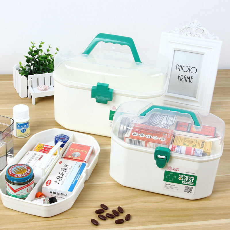 First Aid Kit Box Organizer Small Double Layer Box Container Plastic Hand Chest For Household Indoor 2 Color Pill Storage Case