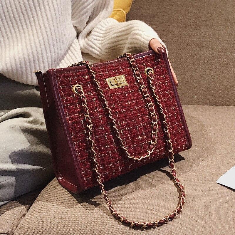 Winter new Wool women handbag designer chain Shoulder bag for Female Totes Ladies Messenger Crossbody bag bolsa sling bags