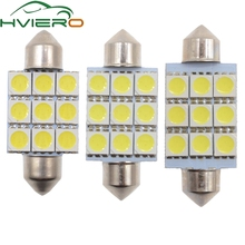 цена на 10X White C5W C10W 5050 SMD 9Led 36mm 39mm 41mm DC 12V Auto LED Festoon Dome Light Door light Reading Lamp Tail Bulb backup Led