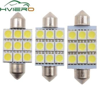 цена на 10X White C5W C10W 5050 SMD 9Led 36mm 39mm 41mm DC 12V Auto LED Festoon Dome Light Door light Reading Lamp Tail Bulb backup Led