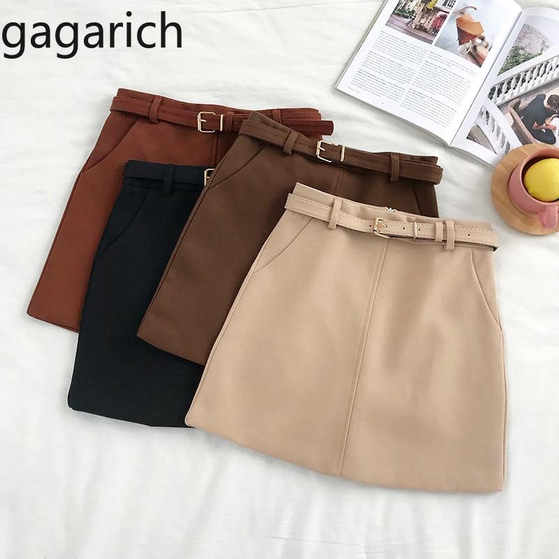 Gagarich Solid High Waist Skirt Women 2020 Autumn Winter New Korean Style PU Leather Solid A-line Skirts