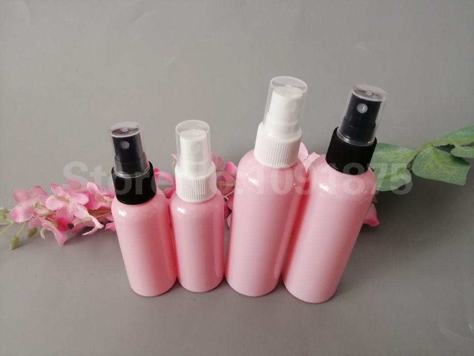 50 stücke 50ml 100 ml rosa kunststoff PET Spray Flaschen Mit Schwarz Weiß sprayer Parfüm Kosmetik Container Rosa Farbe