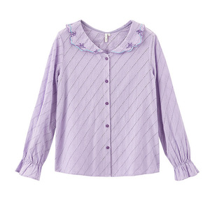 Image 5 - INMAN, весна 2020, Новое поступление, чистый цвет, художественная вышивка, лацканы, кружева, рукава, выдолбленные, свободные, длинный рукав, женская рубашка