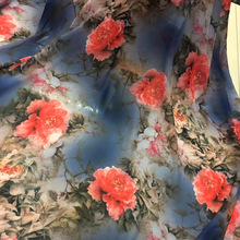 Soft 50D Peony Printed Chiffon Fabric Floral Cloth Silky Scarf Cosplay Dress Skirt Clothing Tissue
