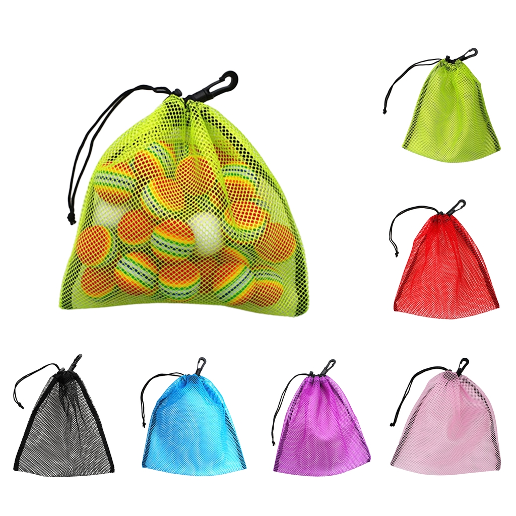 Lightweight Nylon Mesh Nets Bag Pouch Golf Tennis 30 Balls Carrying Holder Storage Drawstring Bag - Choose Colors