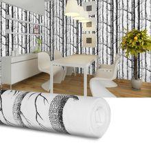 Черный белый Березовое дерево настенная бумага современный дизайн рулон жемчужно деревенская лесная Чаща спальня гостиная настенная украшение из бумаги для дома