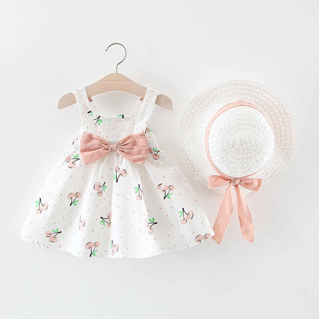 Fashion Baby girl dress cotton o-neck regular Toddler Baby Kids Girls Sleeveless Cherry Dot Princess Dresses Bow Hat Outfits H4