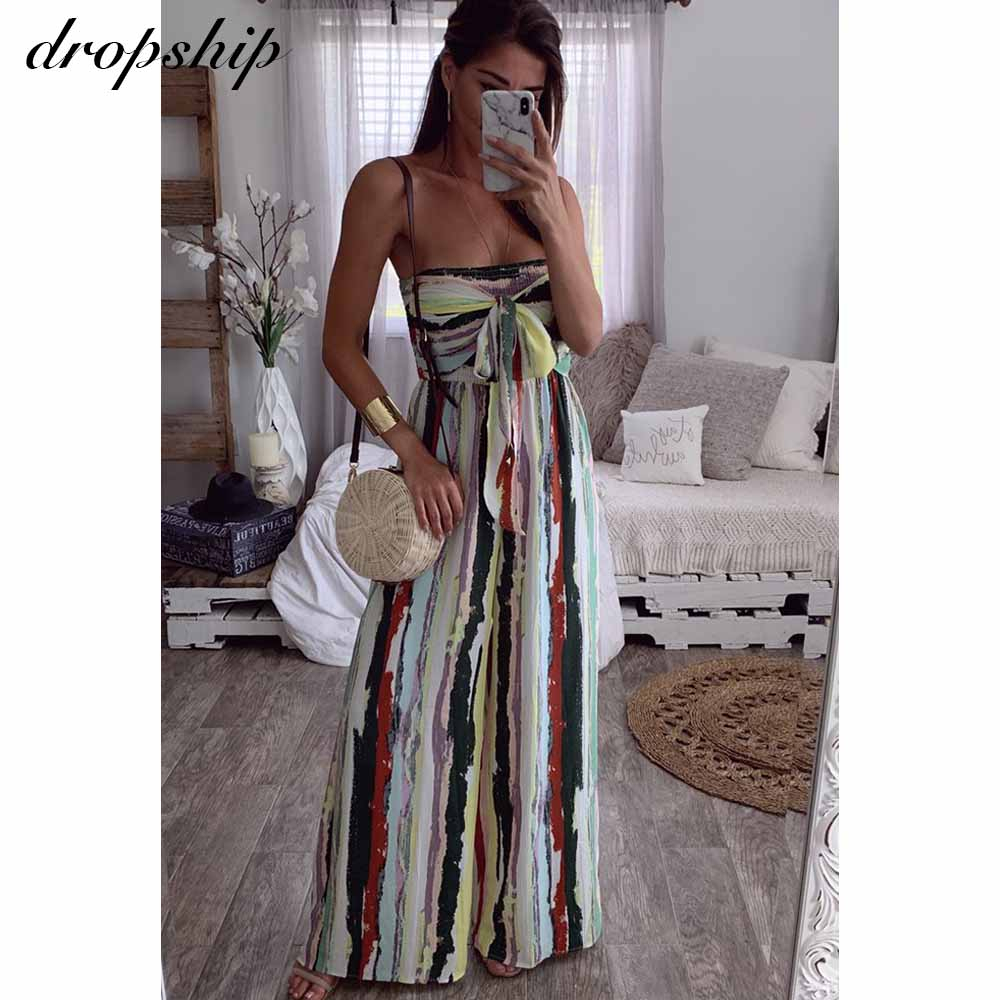 Dropship Casual Off Shoulder Jumpsuit Women Sexy Party Elegant Romper Bodycon Playsuit Striped Summer Overalls For Women