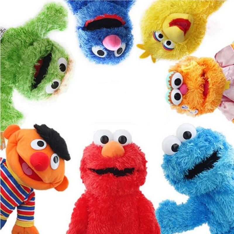 Große Sesam Straße Handpuppe Zeigen Puppet Elmo Cartoon Weiche Plüsch Puppe Geburtstag Für Kinder Kinder Neue Jahr Geschenke