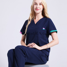 Pure Cotton Scrub Top V Neck Short Sleeve Medical Uniforms Women Color Blocking Surgical Shirt Plug Size Medical Scrubs (a Top)