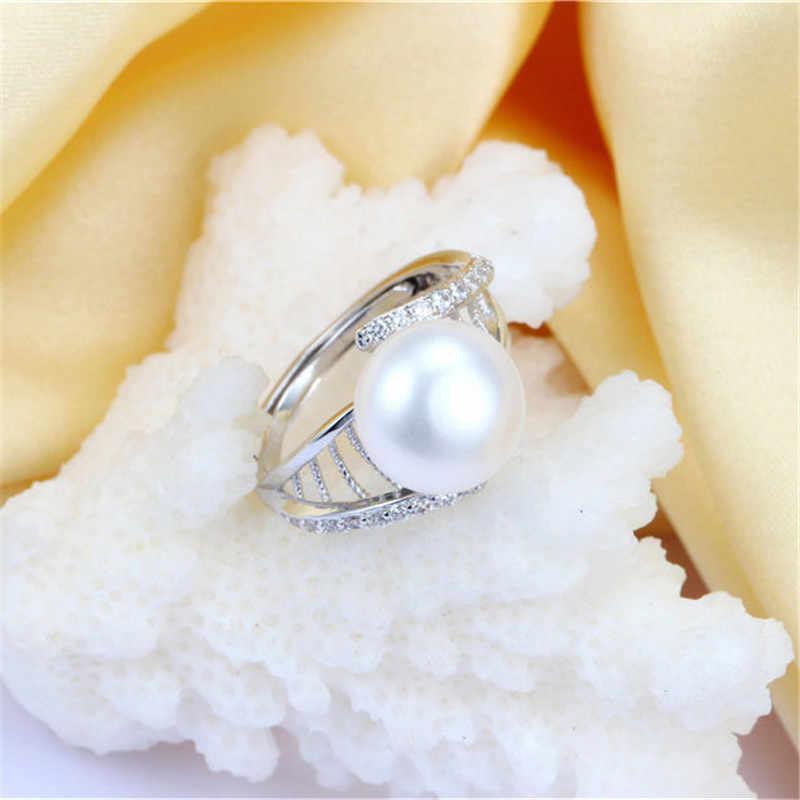 คุณภาพสูง 10 มม.แหวนไข่มุกธรรมชาติ, 925 เงินสเตอร์ลิงแหวนเงินผู้หญิงแหวนแหวนเงิน 925 เครื่องประดับ