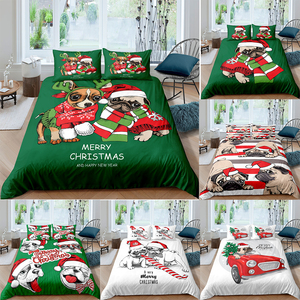 Homesky 3D Christmas Bedding Set Pug Dog Duvet Cover 2/3pcs Single Twin Queen King Size Bedding Luxury Home Textiles Quilt Cover