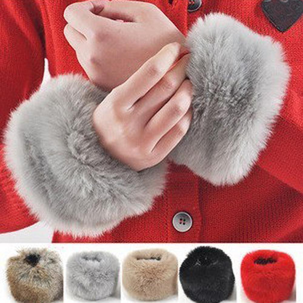 1 Pair Women Fashion Winter Warm Faux Fur Elastic Wrist Slap On Cuffs Ladies Solid Color Arm Warmer Plush Wrist Protector