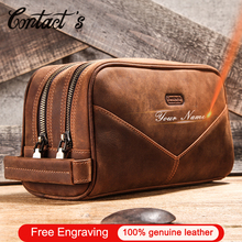 Crazy Horse Genuine Leather Travel Makeup Bag Men's Vintage Leather Cosmetic Cases Luxury Brand Washing Storage Toiletry Bags