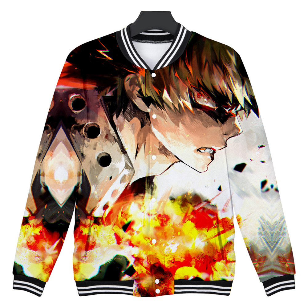 Anime  3D Print Zip Up Baseball Outerwear Winter Bomber Jacket College Men Hoodie Sweatshirts