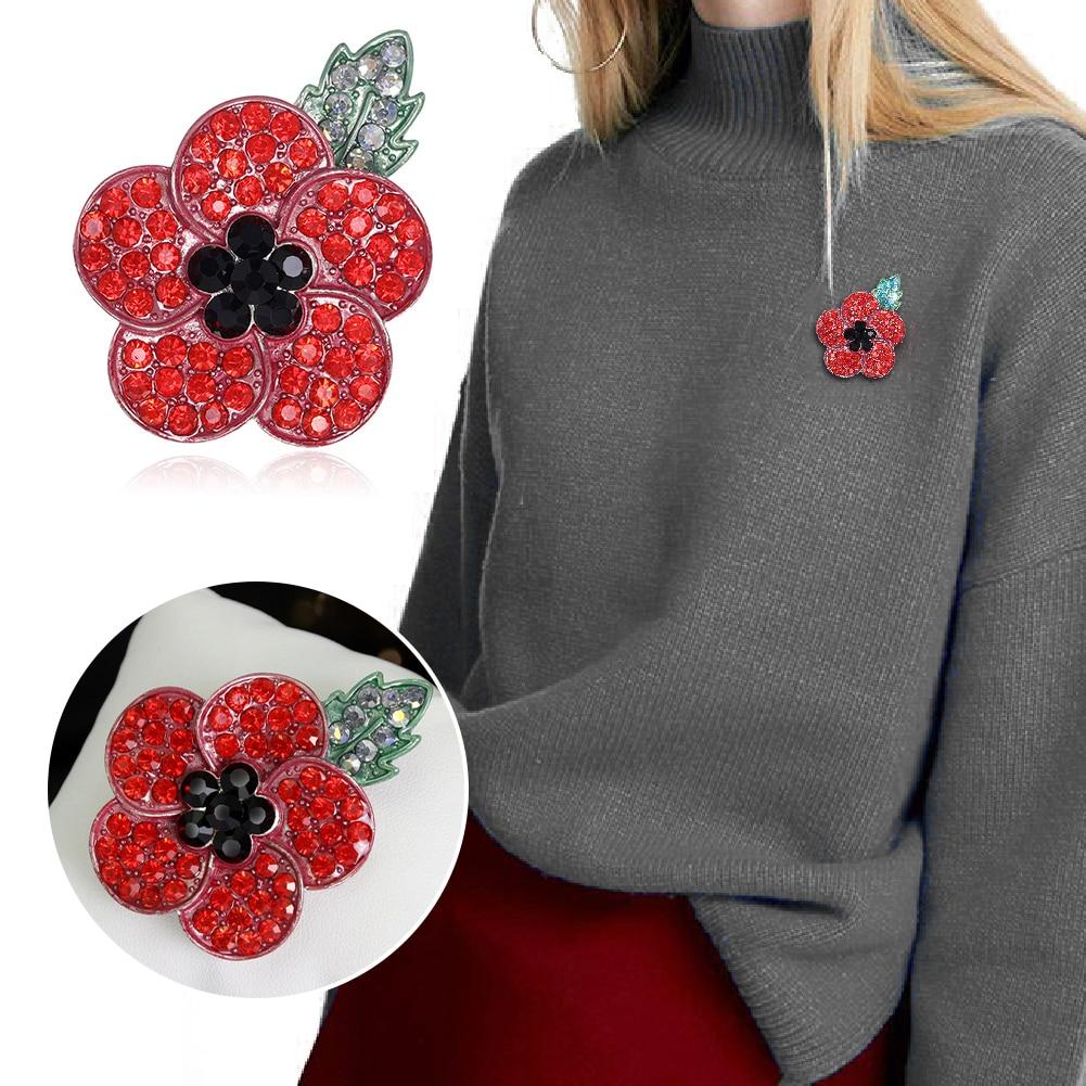 New PoppyBadges 2019 Pin Lapel Crystal Enamel Metal Brooch Red