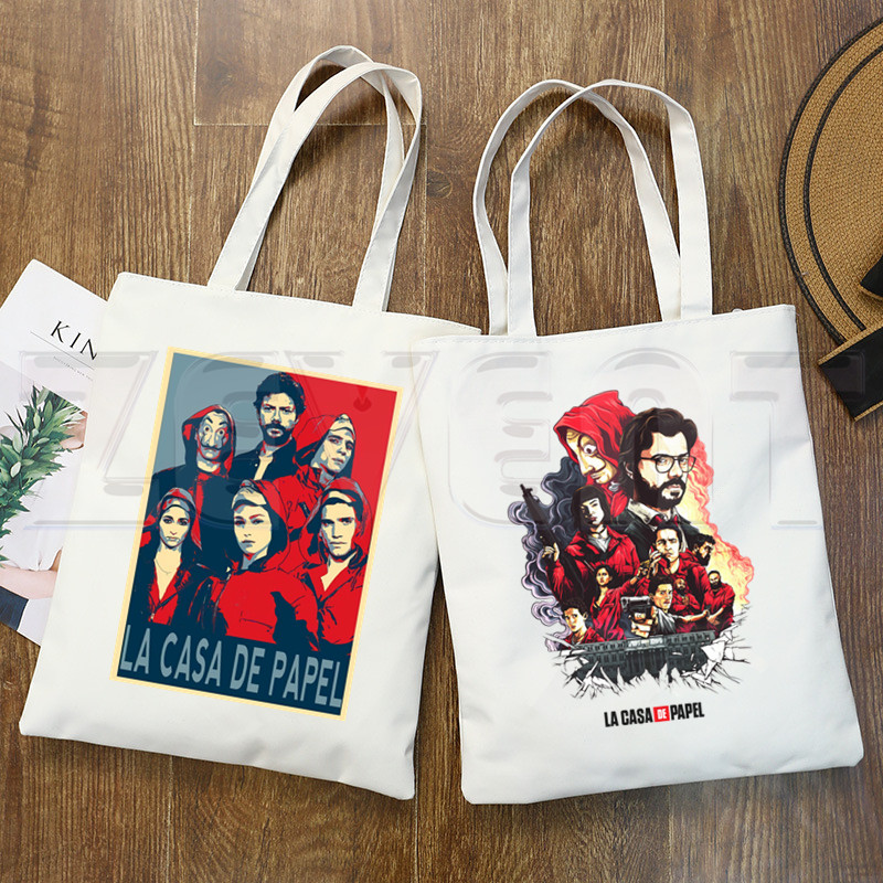 La Casa De Papel Camiseta Bella Ciao Canvas Bag Totes Simple Print Shopping Bags Girls Casual House Of Paper Money Heist Pacakge