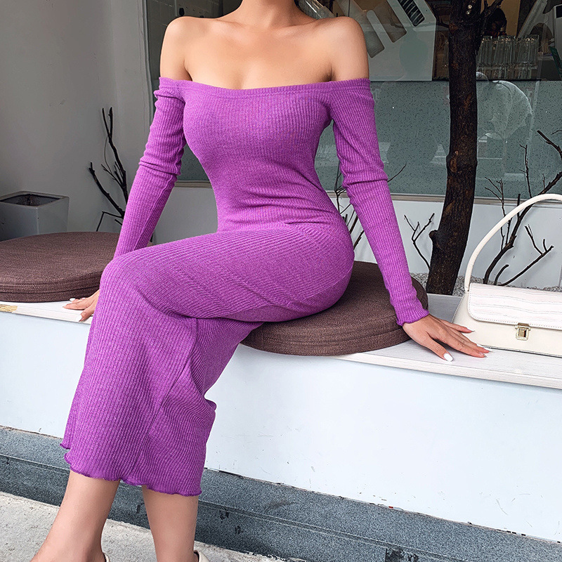 Off Shoulder Ribbed Knitted Long Sleeve Bodycon Midi Dress 10