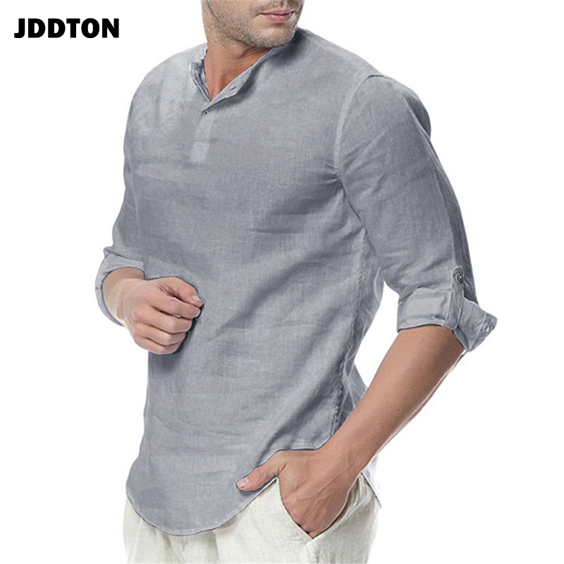 JDDTON New Men's Long Sleeve Shirts Cotton Linen Casual Breathable Comfort Shirt Fashion Style Solid Male Loose Streetwear JE065 6