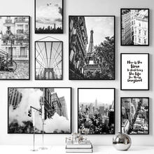 Wall Art Canvas Painting Black White Paris Tower Brooklyn Bridge Nordic Posters And Prints Wall Pictures For Living Room Decor