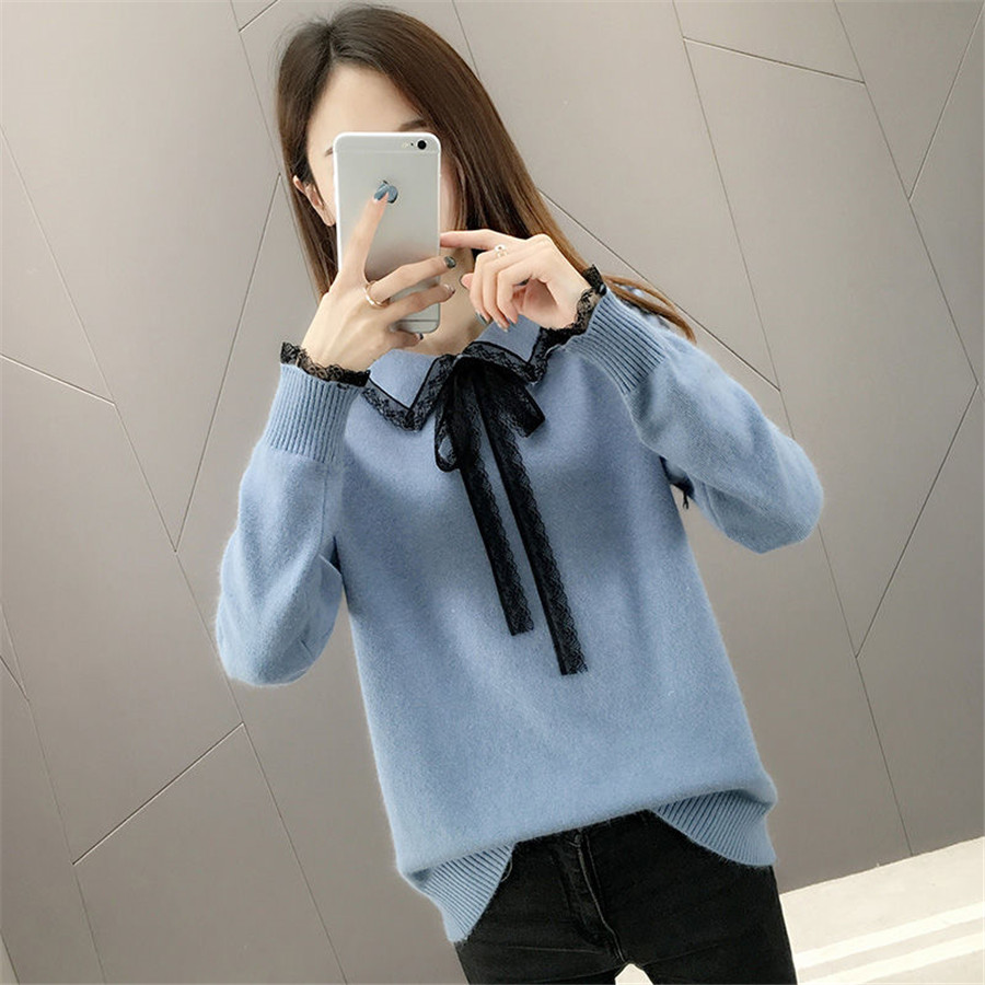Laides Sweet Solid Sweater Chic Lace Patchwork Knitting Pullovers Turn-dowm Collar Lace Up Knitted Sweater Ladies Causal Sweater