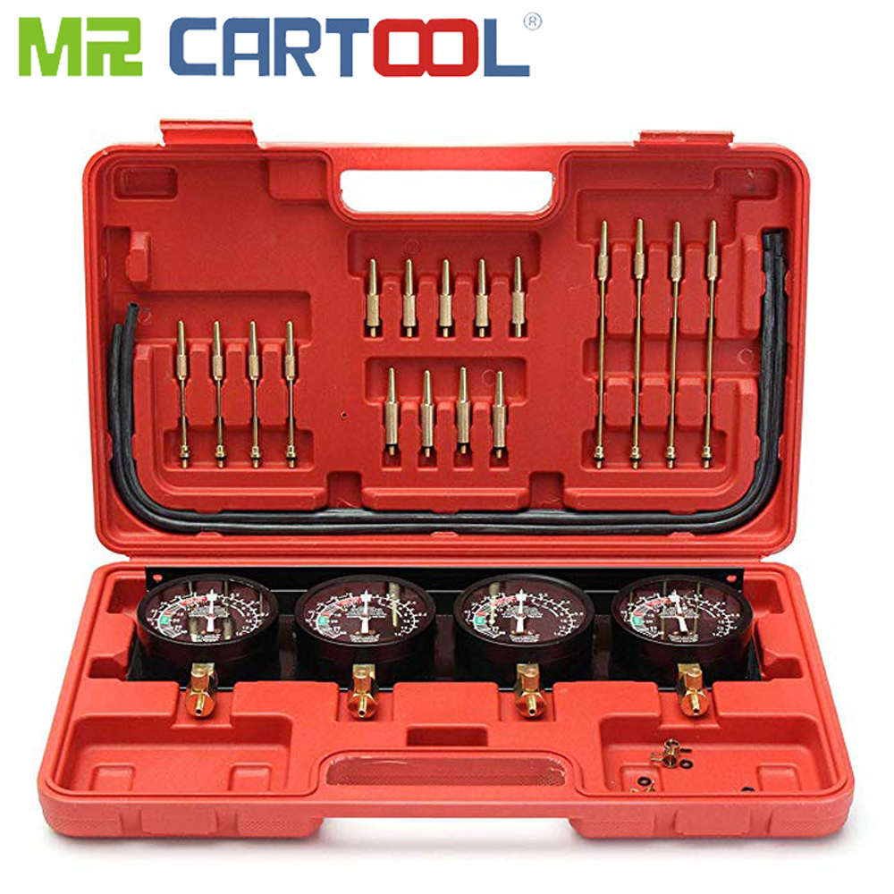 Mr Cartool Motorcycle Universal Professional Portable Fuel Vacuum Carburetor Synchronizer Set 4 Gauges Tool Kit