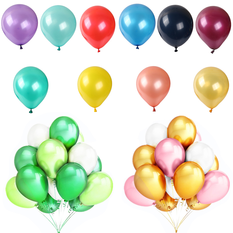 Balloons 10pcs/set 10inch Pearl Latex Powder Gold Silver Inflatable Helium Balloons Birthday Party Wedding Home Decoration