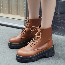 2020 Fashion Autumn Winter Flat Warm Ankle Boots Woman Chunky Sneakers Platform PU Leather Boots Lace Up Women Shoes Botas Mujer autumn winter ankle boots women platform boots lace up black white leather rubber boots woman shoes comfortable women s boots