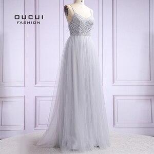 Image 2 - Vestido De noche largo De tul para mujer, De talla grande, con perlas, tirantes finos, OL103420, 2019