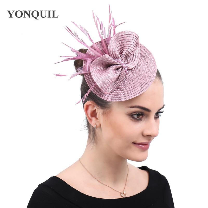 Elegant Bridal Wedding Hat Fascinator Feather Mesh Party Cocktail Headdress Hair Flowers Women Fashion Headwear Fascinators
