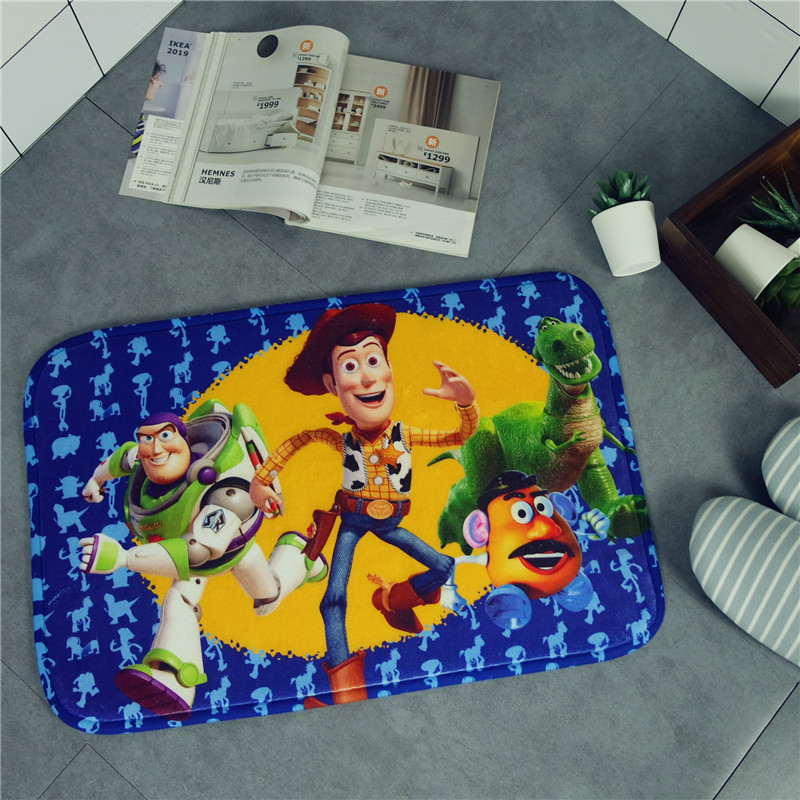 Cartoon Toy Story Mat Buzz Lightyear Woody Strawberry Bear Plush Carpet Foot Pad Door Mat Carpet Plush Toy