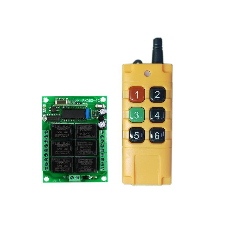 Système de commutation radio sans fil, universel, 433mhz, DC 12V, 6 canaux RF, télécommande, émetteur récepteur, éclairage, mise sous tension
