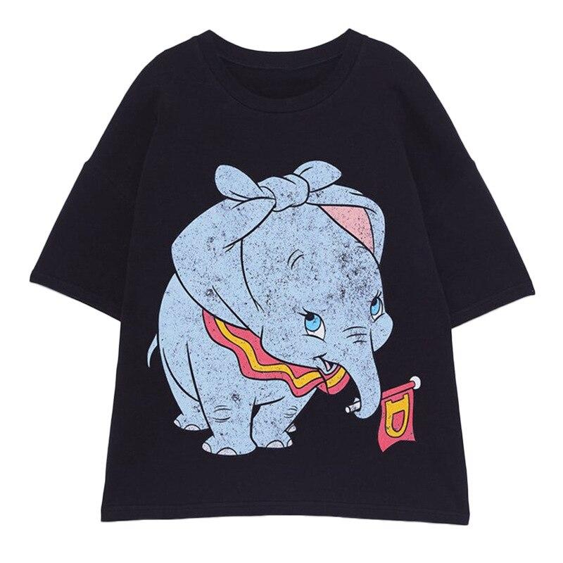 Dumbo-Impresso-Camiseta-Animal-Kawaii-das-Mulheres-T-Camisa-Engra-ada-de-T-Camisas-de-Manga