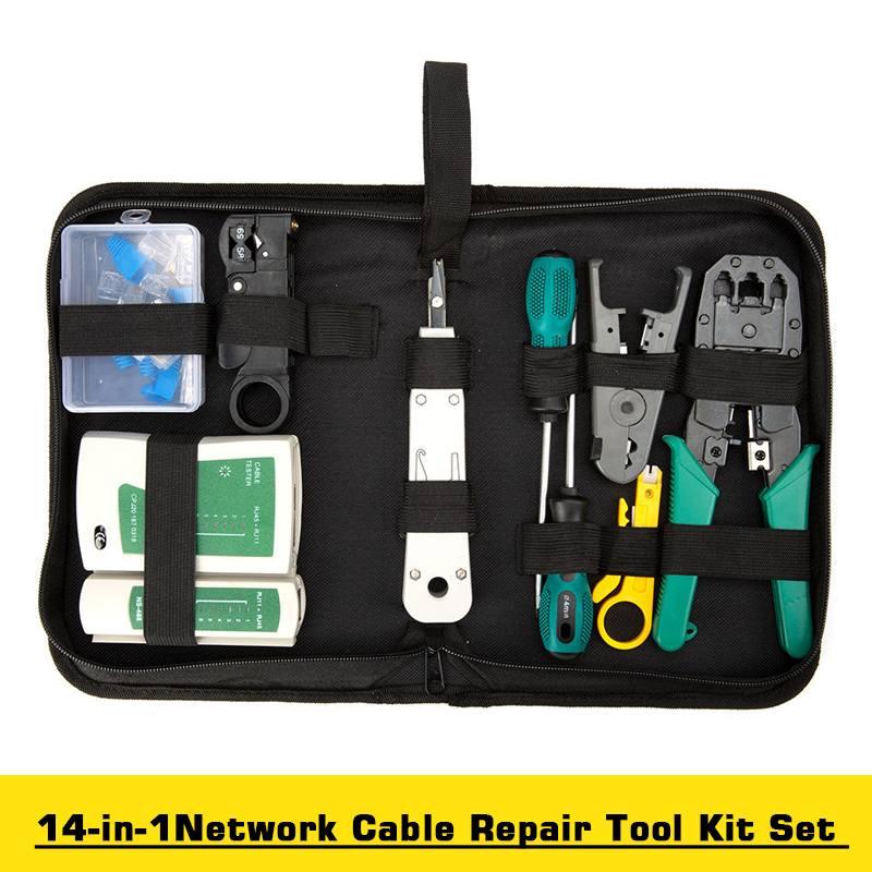 14Pcs/set Professional RJ45 RJ11 CAT5 CAT5e CAT6 Network Repair Tool Kit UTP LAN Cable Tester Plier Crimp Crimper Plug Clamp PC