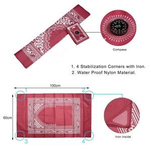 Image 5 - Muzułmański dywanik do modlitwy poliestrowe przenośne plecione maty po prostu drukuj z kompasem w etui podróż dom nowy styl mata koc 100*60cm