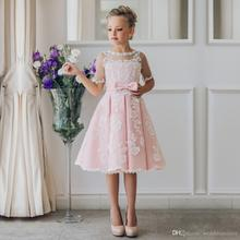 Pretty Half Sleeve Custom Made Button Back Lace Knee-length Girls Pageant party gown Kids Birthday Flower Girl Dresses