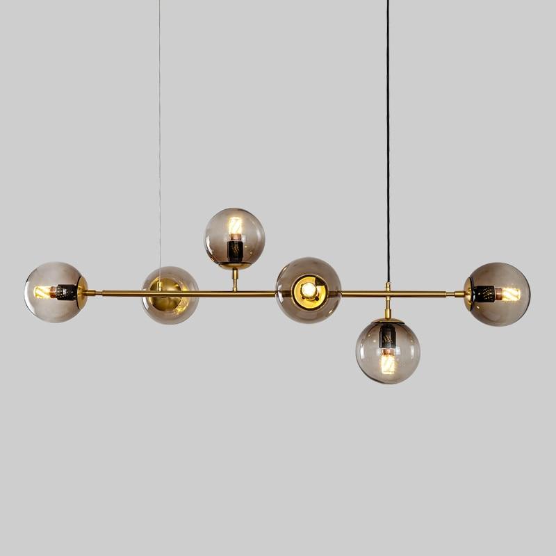 Nordic minimalist living room led chandelier modern restaurant bar counter hanging lights luxury cafe glass hanging lamp 90 260V|Chandeliers| |  - title=