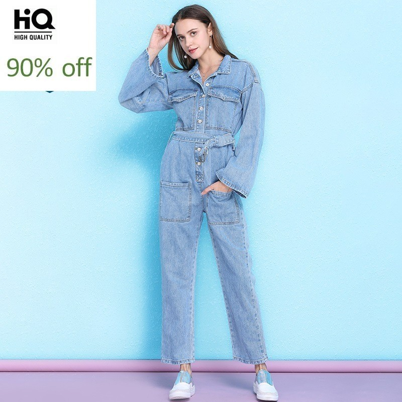 2020 New Denim Jumpsuits With Belt Women Boyfriend Style Summer High Waist Overalls Ladies Loose Jeans Jumpsuits Rompers Female