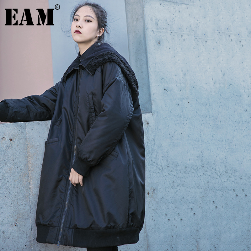 [EAM]  Black Split Big Size Cotton-padded Coat Long Sleeve Loose Fit Women Parkas Fashion Tide New Spring Autumn 2020 19A-a821