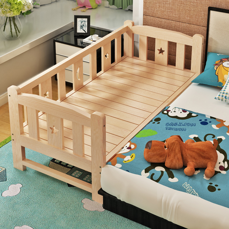 Solid Wood Children's Bed Boys Single Bed Bed Widening Small Bed With Guardrail Baby Split Big Bed Split Artifact Split Bed