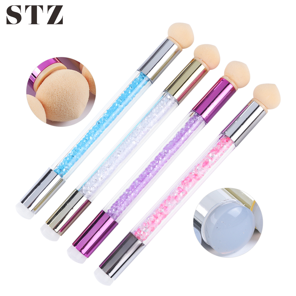 STZ Manicure Brushes Nail Art Brush Sponge Set Glitter Gel Polish Painting Gradient Rhinestone Pen Scraper Nail Design Tool #944