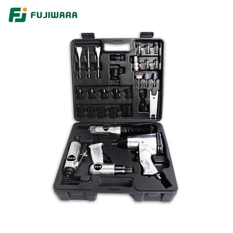 FUJIWARA 4pcs Pneumatic Tool Set Air Shovel 900N M Torque Wrench 68N M Ratchet Wrench Pneumatic Grinding Machine Air Hammer