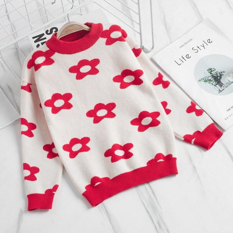 Autumn & Winter Korean-style Children Daughter CHILDREN'S Sweater Fashion-Style Flower Long Sleeve Crew Neck Sweater